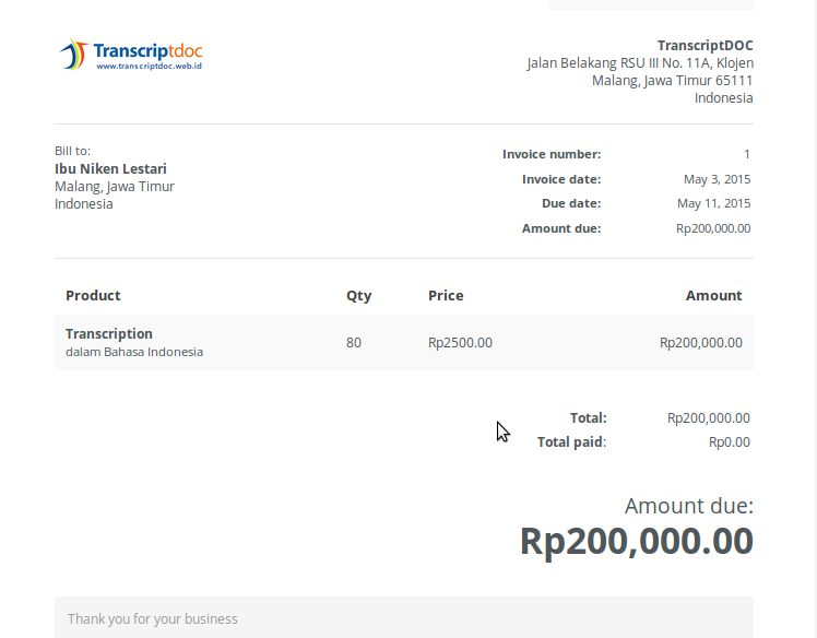 contoh invoice jasa transcription